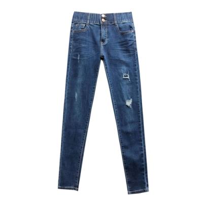 鬆緊雙扣腰刷破收邊牛仔褲 TATA-(S~XL)