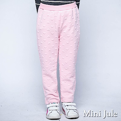 Mini Jule 褲子 滿版愛心圖案鬆緊厚棉長褲(粉紅)