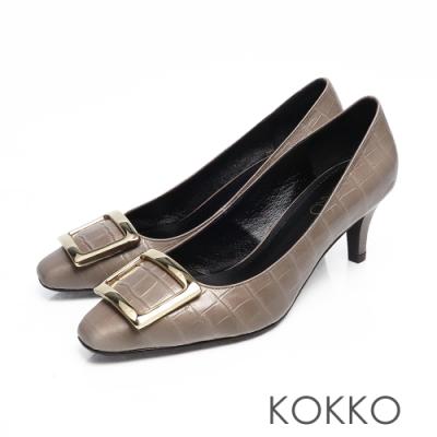 KOKKO -  重溫初心大方扣真皮方頭高跟鞋-簡約灰
