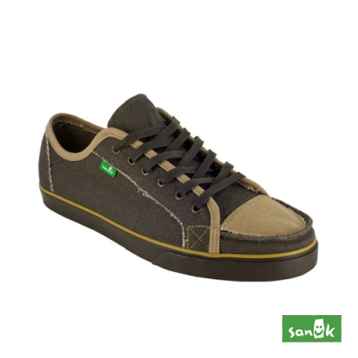 SANUK 男款US10 牛仔布拼接綁帶休閒鞋(咖啡色)