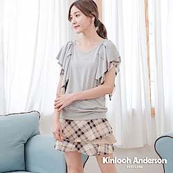 【Kinloch Anderson金安德森女裝】英倫甜美雪紡層次格紋短裙