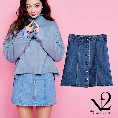 裙子 時尚百搭單排釦牛仔短裙(深藍) N2
