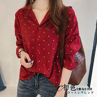 寬版波點長袖襯衫-共2色(M-2XL可選)    初色