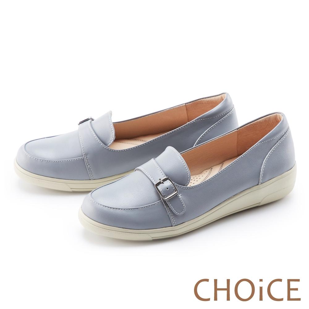 CHOiCE 真皮皮帶釦環厚底 女 休閒鞋 淺藍
