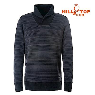 【hilltop山頂鳥】男款ZISOFIT吸溼快乾保暖刷毛上衣H51MH5黑條