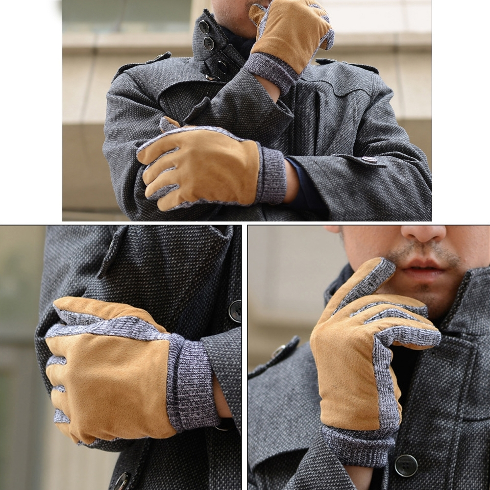 ego life麂皮針織加厚加絨保暖防滑機車男女手套 product image 1
