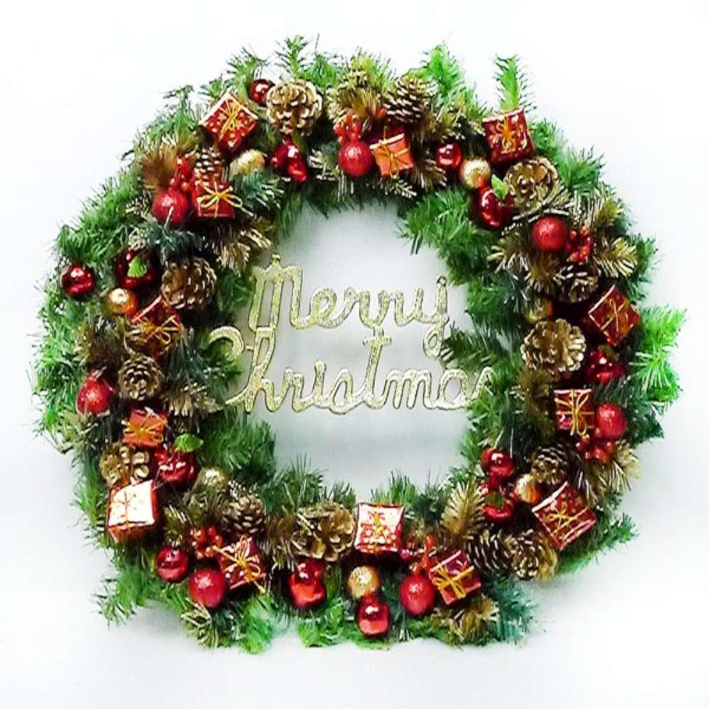 摩達客 24吋豪華高級聖誕花圈(紅金色系)(台灣手工組裝出貨)(本島免運費)