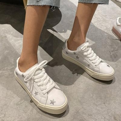 韓國KW美鞋館 嬌豔航線星星造型小白鞋-白銀