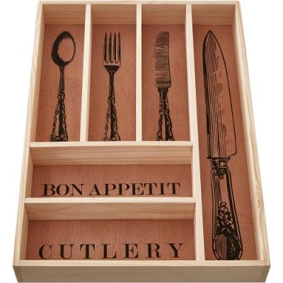 《Premier》6格木製餐具收納盒(42cm)