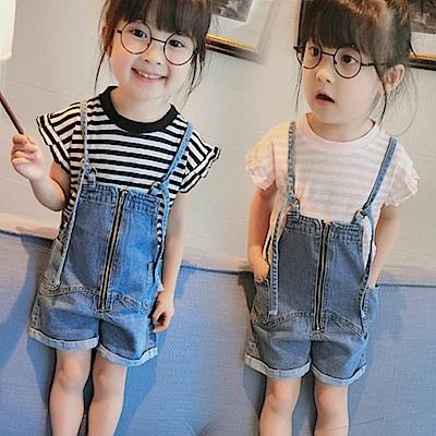 小衣衫童裝    女童條紋短袖T+牛仔吊帶短褲套裝1070402