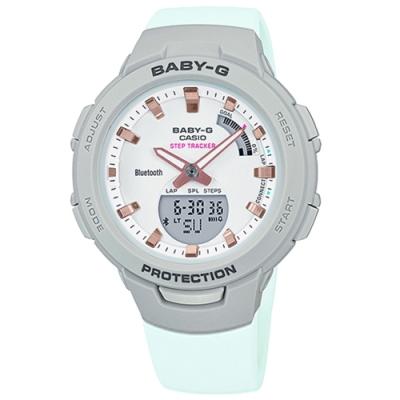 Baby-G CASIO 卡西歐 雙顯藍牙連線 手錶-薄荷綠x灰框/41mm