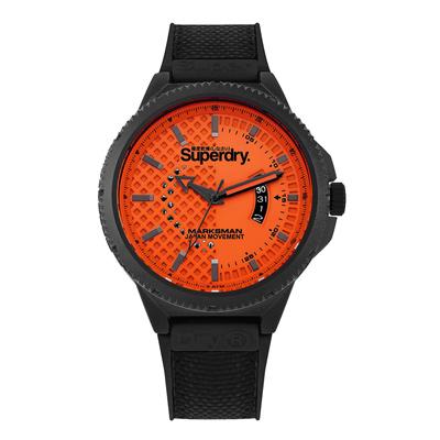 Superdry極度乾燥  街頭潮流日期運動腕錶-黑X橘(SYG245OB)/45mm