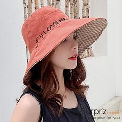 A-Surpriz 英字雙面遮陽布帽(磚紅+格紋)