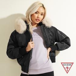GUESS-女裝-時尚狐狸毛領連帽羽絨外套-黑 原價14990