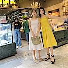 DABI 韓系背心裙閨蜜露背長裙無袖洋裝