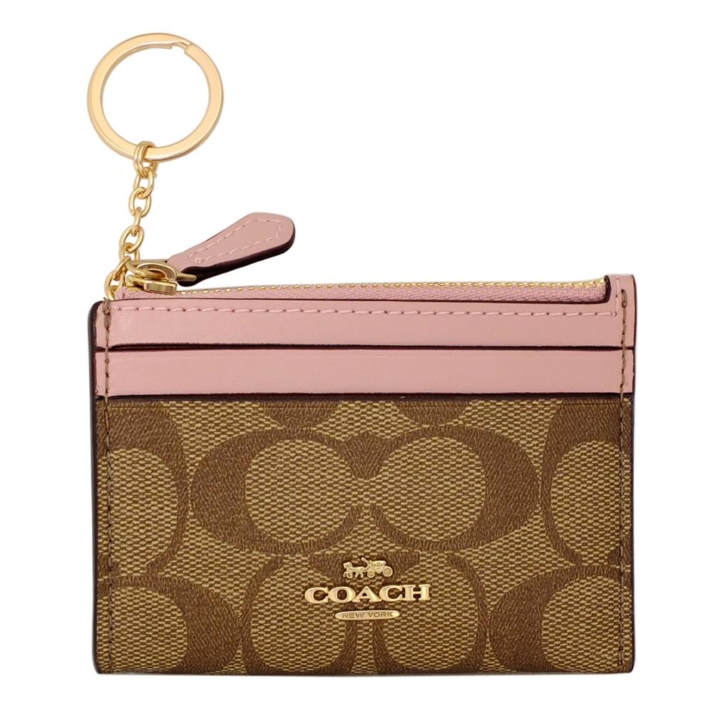 COACH卡其C Logo粉紅邊真皮前卡夾鑰匙零錢包