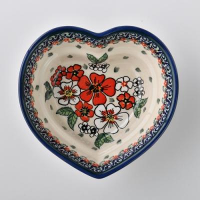 波蘭陶 紅白彩卉系列 愛心造型烤盤 波蘭手工製