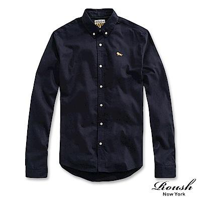 Roush 麂皮織帶設計牛津布襯衫(5色)