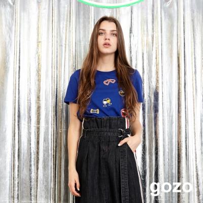 gozo Let's party 趣味印花上衣(藍色)