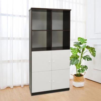 Boden-2.8尺四門上開放防水塑鋼收納櫃(六色可選)-84x43x180cm