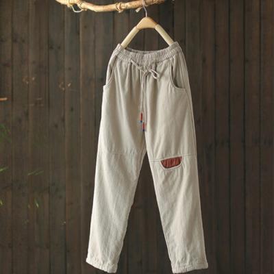 撞色抽繩鬆緊腰夾棉棉褲外穿寬鬆長褲-設計所在
