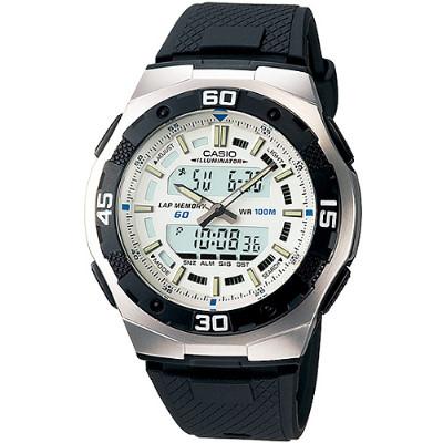 CASIO 城市遊俠運動膠帶雙顯錶-白(AQ-164W-7A)/43.5mm