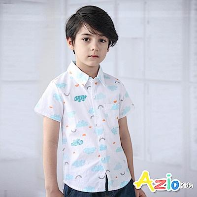 Azio Kids 上衣  造型雲朵幾何圖型單口袋短袖襯衫(白)