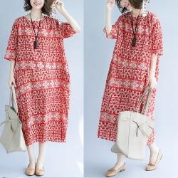 焦點紅圖騰樣式印花棉麻寬鬆連身裙F-Keer
