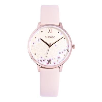 MANGO夢幻花園時尚皮革腕錶-杏色/36mm