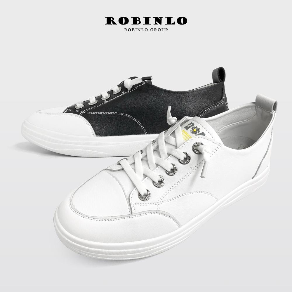 Robinlo免綁帶星型水鑽牛皮休閒鞋小白鞋 米白/黑