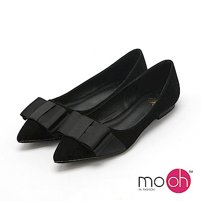 mo.oh 尖頭蝴蝶結平底娃娃鞋-黑色