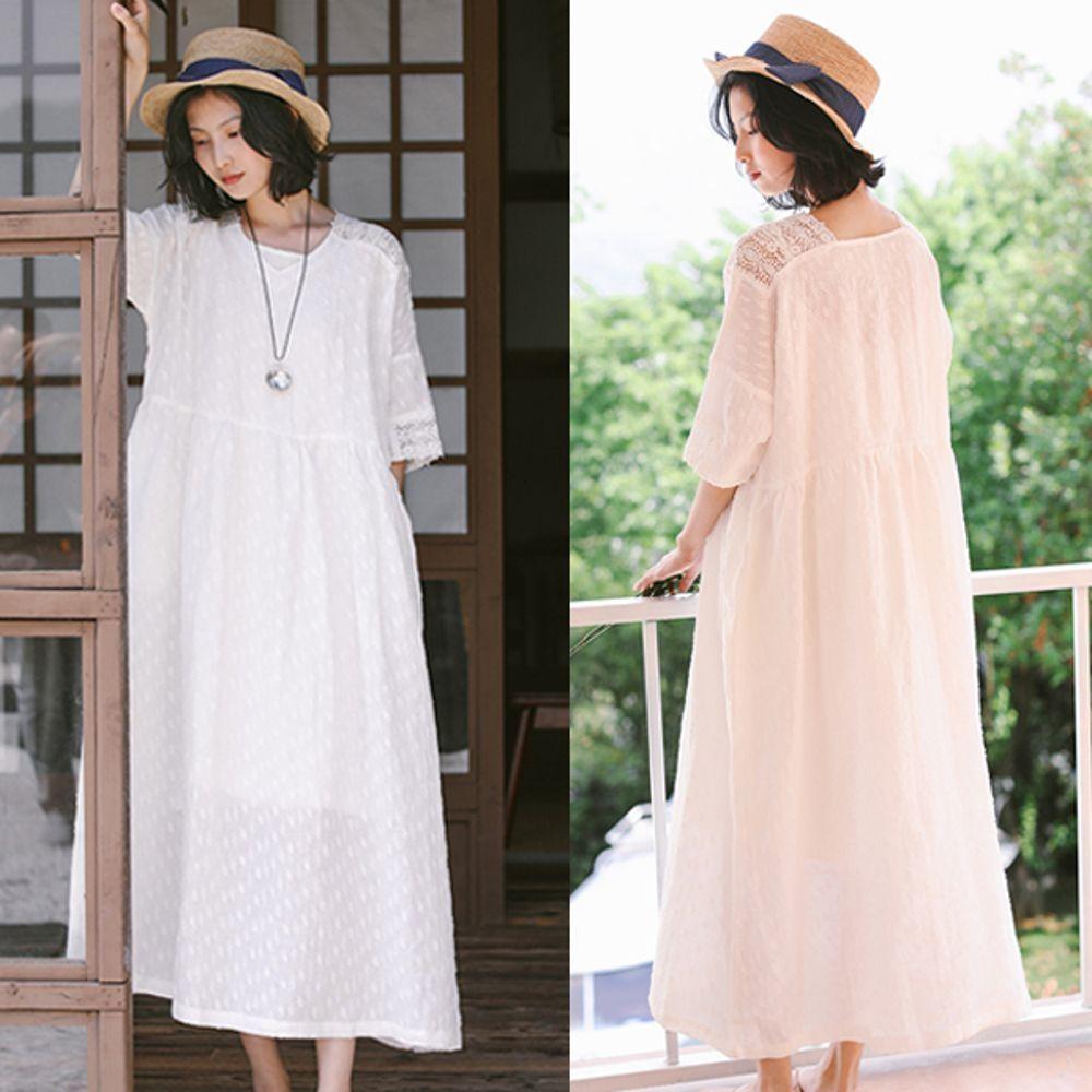 洋裝-緹花亞麻蕾絲白色仙女長裙寬鬆-設計所在