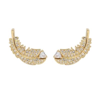 SWAROVSKI 施華洛世奇 NICE璀璨水晶羽毛造型金色耳環