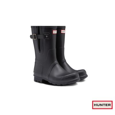 HUNTER - 男鞋-可調整扣帶霧面短靴 - 黑