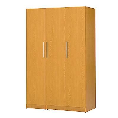 文創集 艾咪環保4.1尺塑鋼三門衣櫃(三色)-122x52.5x192cm-免組