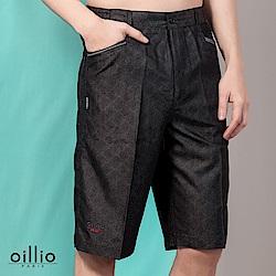 oillio歐洲貴族 休閒紳士休閒短褲 舒適透氣棉料 黑色