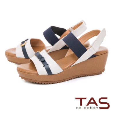 TAS 牛皮扣帶一字楔型涼鞋–清晰白