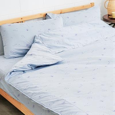 奶油獅-星空飛行-美國抗菌100%純棉床包兩用被套四件組(灰)-雙人加大6尺