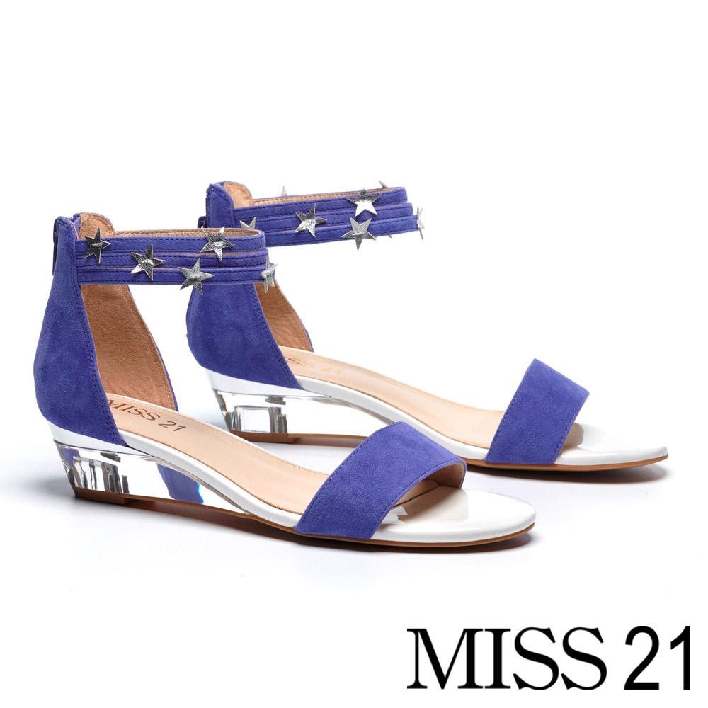 涼鞋 MISS 21 酷感街頭風格星星繫帶羊麂皮楔型涼鞋-紫