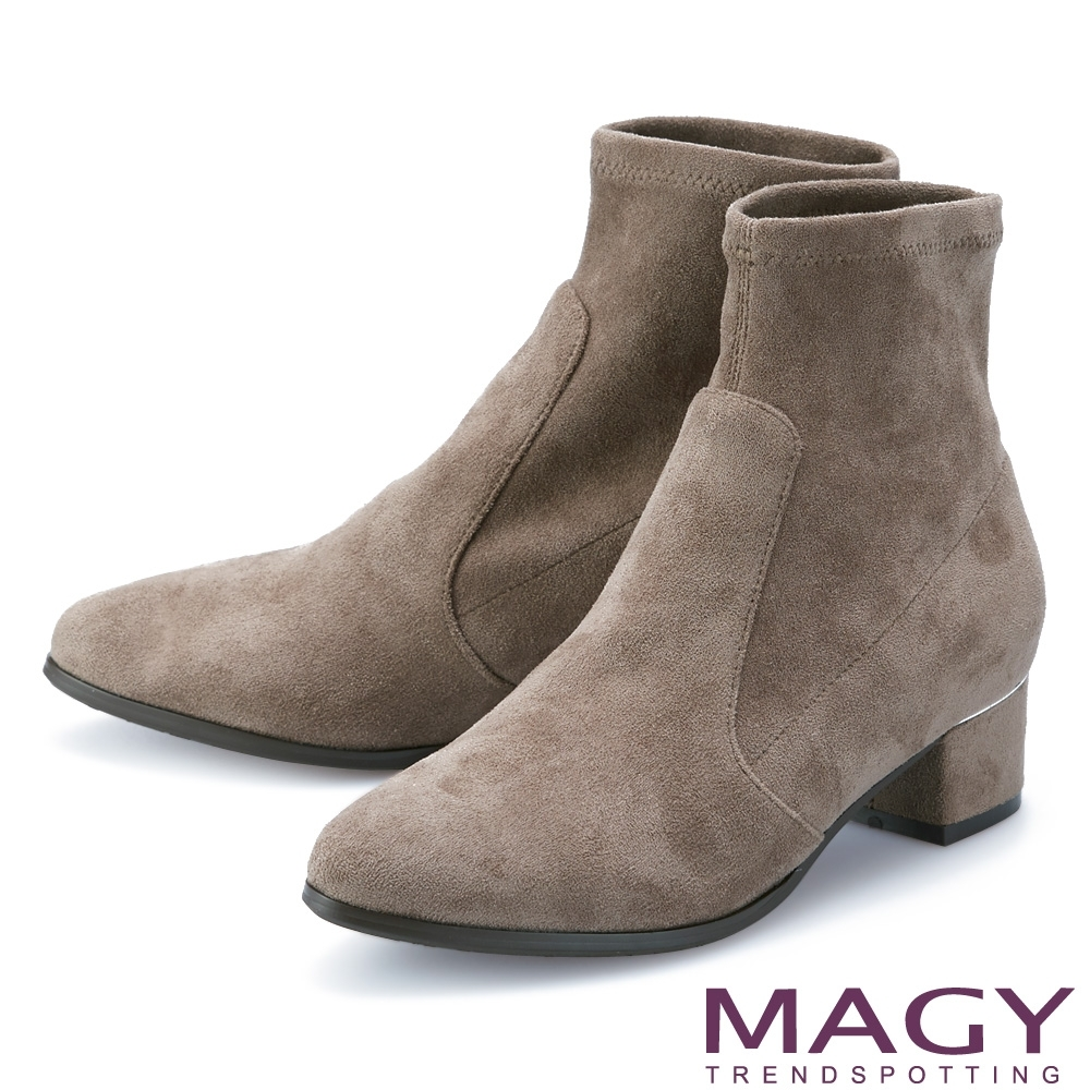 MAGY 質感金屬條飾粗跟 女 短靴 可可