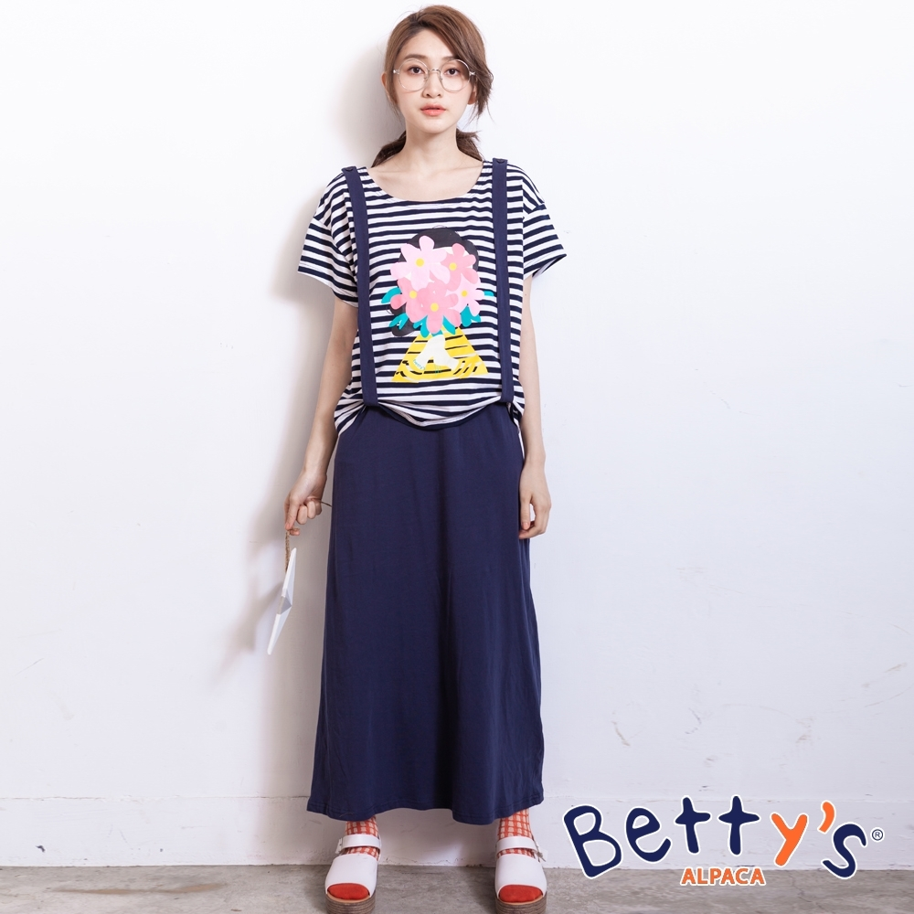 betty's貝蒂思 印花假兩件吊帶洋裝(深藍)