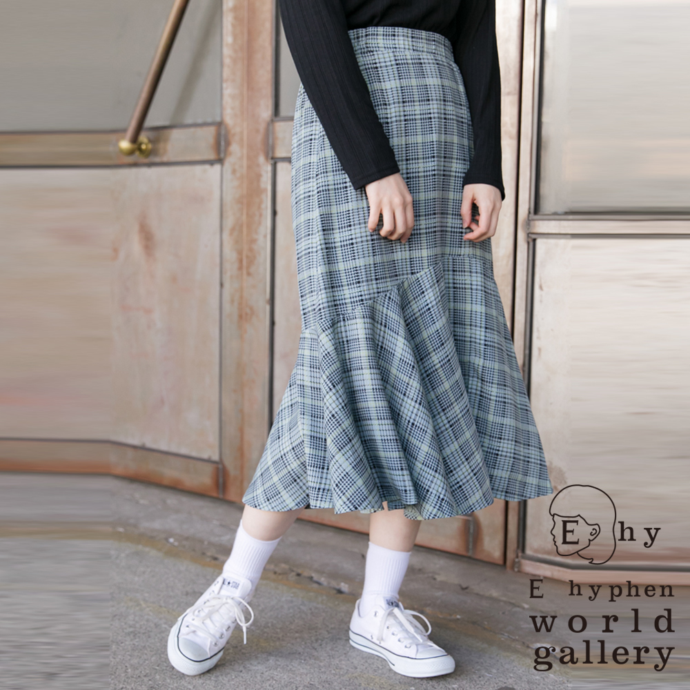 E hyphen 經典格紋圖案魚尾裙