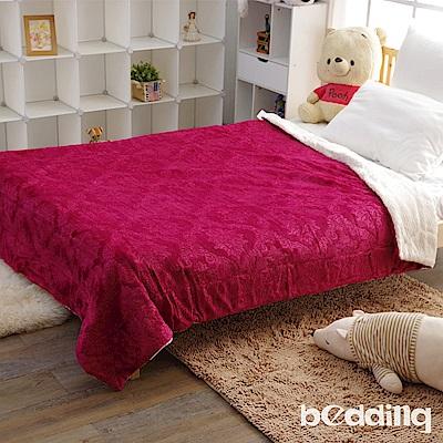 BEDDING-頂級雙面絨舒柔日式雕花毯被-西班牙紅