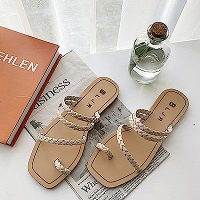 韓國KW美鞋館 女神同款雙色百搭平底拖鞋-米白色