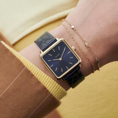 CLUSE La Tetragone 系列腕錶(金框/藍錶面/鱷魚紋皮革錶帶)28.5mm