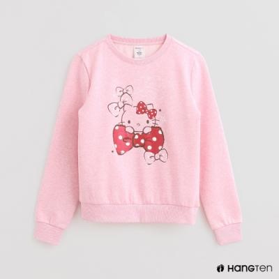 Hang Ten -女裝 - Sanrio-童趣圖樣刷毛圓領長袖上衣 - 粉