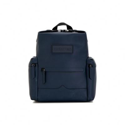 HUNTER - 上方開扣橡膠塗層皮革中型後背包 - 藍