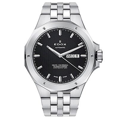 EDOX Delfin 海豚系列 專業200米日曆機械錶-黑x銀/43mm
