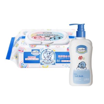 限定貝恩Baan NEW嬰兒保養柔濕巾80抽24入+貝恩Baan 嬰兒沐浴精/200ml*1