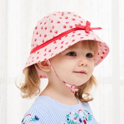 Kori Deer 可莉鹿 粉色草莓純棉女嬰兒童綁帶遮陽帽 漁夫帽寶寶帽防曬